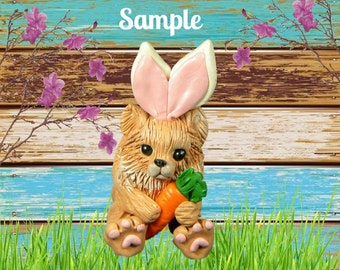 Light Red Pomeranian Easter Bunny with Carrot OOAK Polymer Clay art sculpture by Sallys Bits of Clay