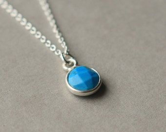 Faceted Blue Turquoise Necklace, December Birthstone Jewelry, Minimal Jewelry, Circle Pendant, Jewelry Gift Women, Delicate Jewelry