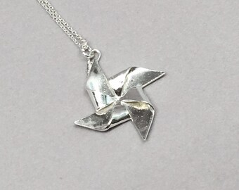Silver Origami Pinwheel Pendant Hand Folded Fine Silver