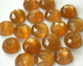 Gemstone Cabochons Golden Moonstone Rose Cut 6mm FOR TWO