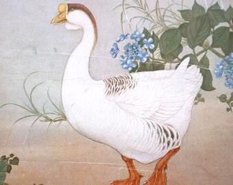 Japanese Print - Goose Hydrangea at the edge of pond - Vintage Print - Japanese Magazine Insert - Bird Print - Vintage Bird Print