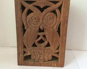 Wood Carved Owl Box