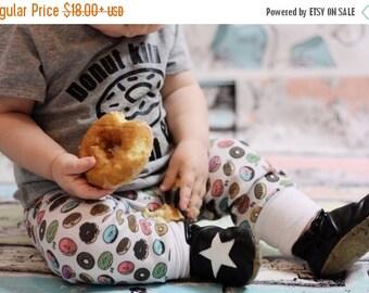 SUPER SALE Donuts Jogger Pants Leggings Aqua Teal Pink Green Brown Donut RockerByeBaby newborn baby through 5t toddler girl or boy