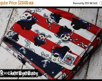 SUPER SALE RockerByeBasics Baby or Toddler Blanket Pirate Stripe Red Nautical with navy Anchors flannel boys 36x42