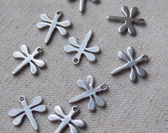 10  Stainless Steel Dragonfly Charms 11 x 10mm