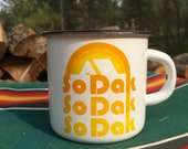 Camping Mug South Dakota - Enamel Camp Mug So Dak retro - Enamelware South Dakota Coffee Mug by Oh Geez Design