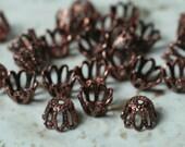 Antique copper bead cap 6mm, 48 pcs (item ID YWACXH00813)