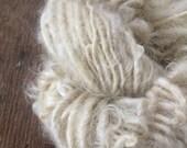 Creamy white Lincoln wool locks yarn 12 yards bulky chunky curly handspun rustic art yarn