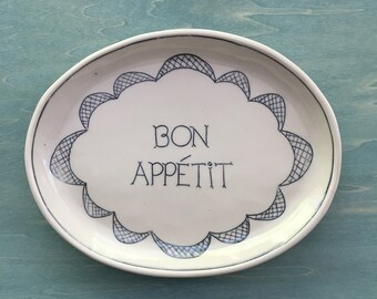 Porcelain Serving Tray | Serving Platter | Wedding gift | French Country plate | Blue and White plate | Bon Appetit