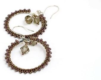 Beaded Hoop Earrings // Bronze // Beadwork // Crystals // Seed Beads