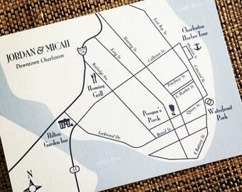 Charleston South Carolina custom wedding map, digital file