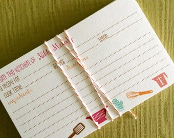 NEW 3x5 size- As seen on SOUTHERN LIVING Magazine- Personalized recipe cards, set of 20