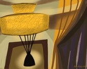 Mid Century Modern Interior with Vintage Lamp Giclee Print on Paper