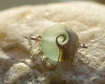 Ocean Wave, Lamp work necklace, sterling silver, frosted sea glass look necklace