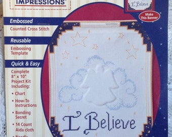 Counted Cross Stitch Kit * ALMA LYNNE* I Believe* From PLAID 1995