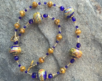 Artisan Made Boro Lampwork Glass Beads With Cobalt and Mustard Crystals on Gold Necklace