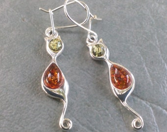 Here Kitty, Kitty - Baltic Amber Earrings