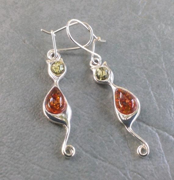 Here Kitty, Kitty - Baltic Amber Earrings