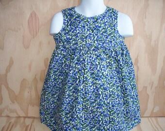 Blueberry fruit cotton gathered bodice girl's sun dress size 12 months