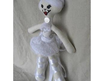 Ballerina dressed in white - Plush - Doll - Fun - Pretend - Handmade