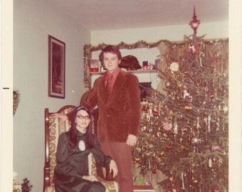 vintage photo 1973 Christmas Couple Xmas Tree Rust & Red Green Satin Hippie Dress