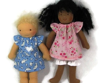 10 in slim Waldorf doll dress, your choice blue geese or pink floral with white bloomers