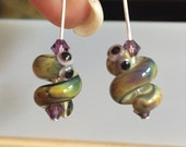 Reserved for M, custom worm earrings, lampwork worms, glass worms, whimsical worms, snake earring beads,