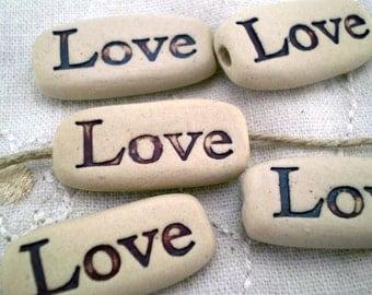 Love Beads, Ceramic Beads, Loose Beads, Word Beads, Rustic Beads, Clay Beads