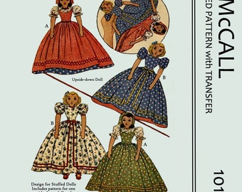Vintage Reproduced upside-down doll Sewing Patterns - 15 inches high - PDF
