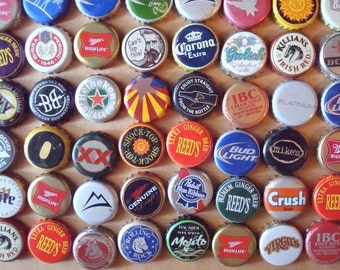 Metal Beer & Soda Recycled Bottle Caps Found Objects -  Assemblage, Altered Art or Sculpture Supplies