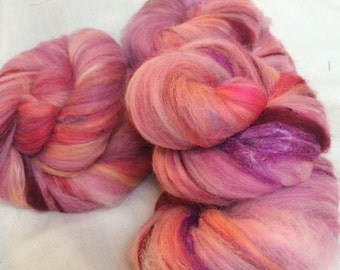 PINK! Baby Art Batts with Silk for Spinning- 3.4 oz