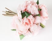 Whimsical Pastel Pink Peony BOUQUET -- Artificial Flower, Wedding Bouquet