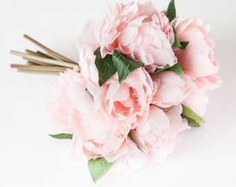 Whimsical Pastel Pink Peony BOUQUET -- Artificial Flower, Wedding Bouquet - ITEM 01028