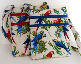 Parrot Hipster Bag, Choice of Red or Royal Blue Zipper Parrot Cross Body Purse, Adjustable Strap Crossbody Bag, Handmade by AnnieKDesigns