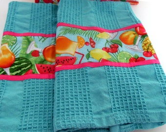 Tropical Cocktail Kitchen Towel and Potholder Set, Turquoise Kitchen Towels and Potholders Set, Happy Hour Towel Potholder Set, Handmade