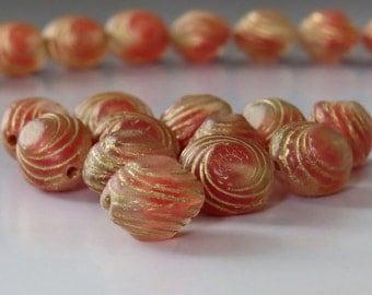 Rose Gold Oval Swirl Czech Glass Bead 10mm : 12 pc Czech Pink 10mm Oval