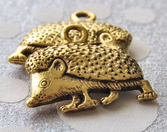 Gold Plated Pewter Hedgehog 17x14mm Charm : 2 pc Gold Hedgehog Charm
