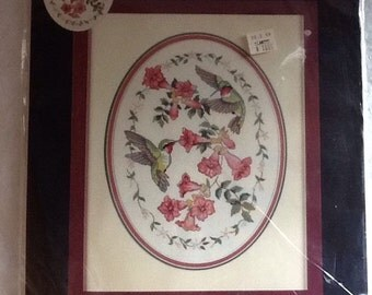Dimensions Sweet Delight 39003 Hummingbird Flower stamped design Vintage Embroidery Kit