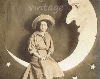 Vintage Paper Moon CowGirl portrait Digital Download / Arcade Portrait/ Download Image