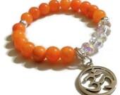 Orange Mountain Jade Crystal Om charm bracelet