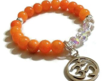 Orange Mountain Jade Crystal Om charm bracelet