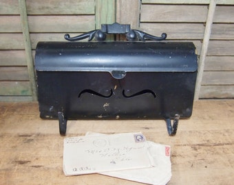 Black Metal Mail Box  vintage   with  hinged door and hooks below Perfect for projects