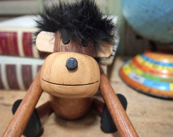 Free Shipping Jointed Wood Teak Monkey Ape Doll in the style of   Kay Bojesen and Hans Bolling Toy Japan