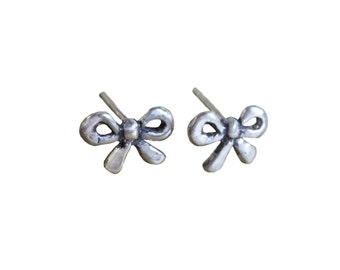 Bow Earrings    Silver Gold stud posts jewelry cute kawaii