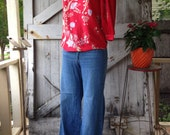 1970s floral blouse 70s tunic top size medium Vintage shirt with accordion sleeves vintage blouse