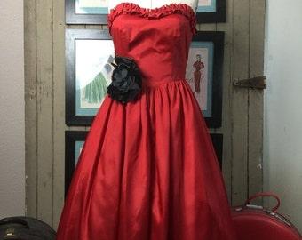 Sale 1980s dress tea length dress 80s does the 50s dress red dress size medium strapless dress party dress vintage dress