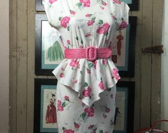 On sale 1980s dress peplum dress cotton dress summer dress 80s does the 40s size medium Vintage dress Byer too