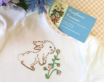 Bunny Love - Hand Embroidered Baby Girl Gerber Onesie