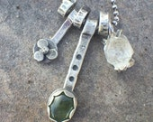 25% OFF - Moss Aquamarine Herkimer Diamond Sterling Silver Dangle Necklace