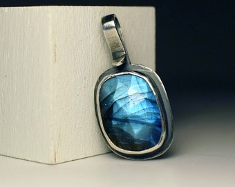 Indigo Blue Chalcedony Detachable Pendant top faceted rose cut sterling silver detachable interchangeable rustic setting sara westermark